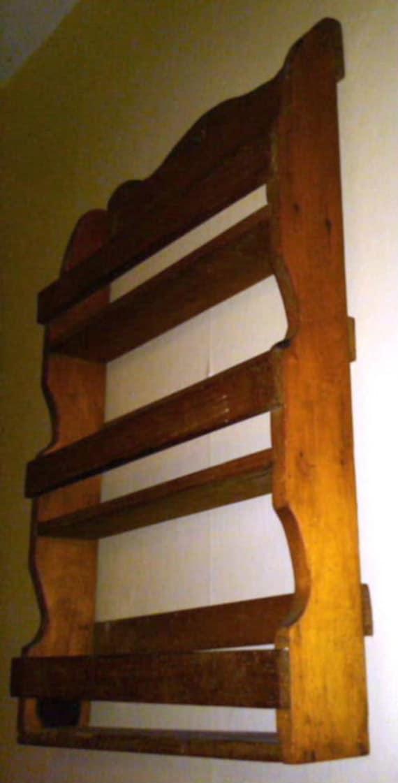 SALE. Vintage Handmade Wooden Spice shelf. Pine. 3 shelf spice rack. Knick Knack Shelf. 18 inches tall.