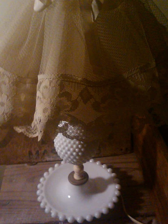 SALE. shabbiest milkglass lamp with original lace trimmed plastic lampshade. boudoir lamp. 16.25 inch high. tabletop. nightstand.