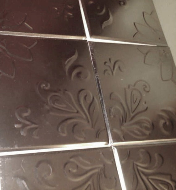 Lot of 32 silver embossed tin tiles covers 2 39 x 4 39 8 by Self adhesive bathroom ceiling tiles