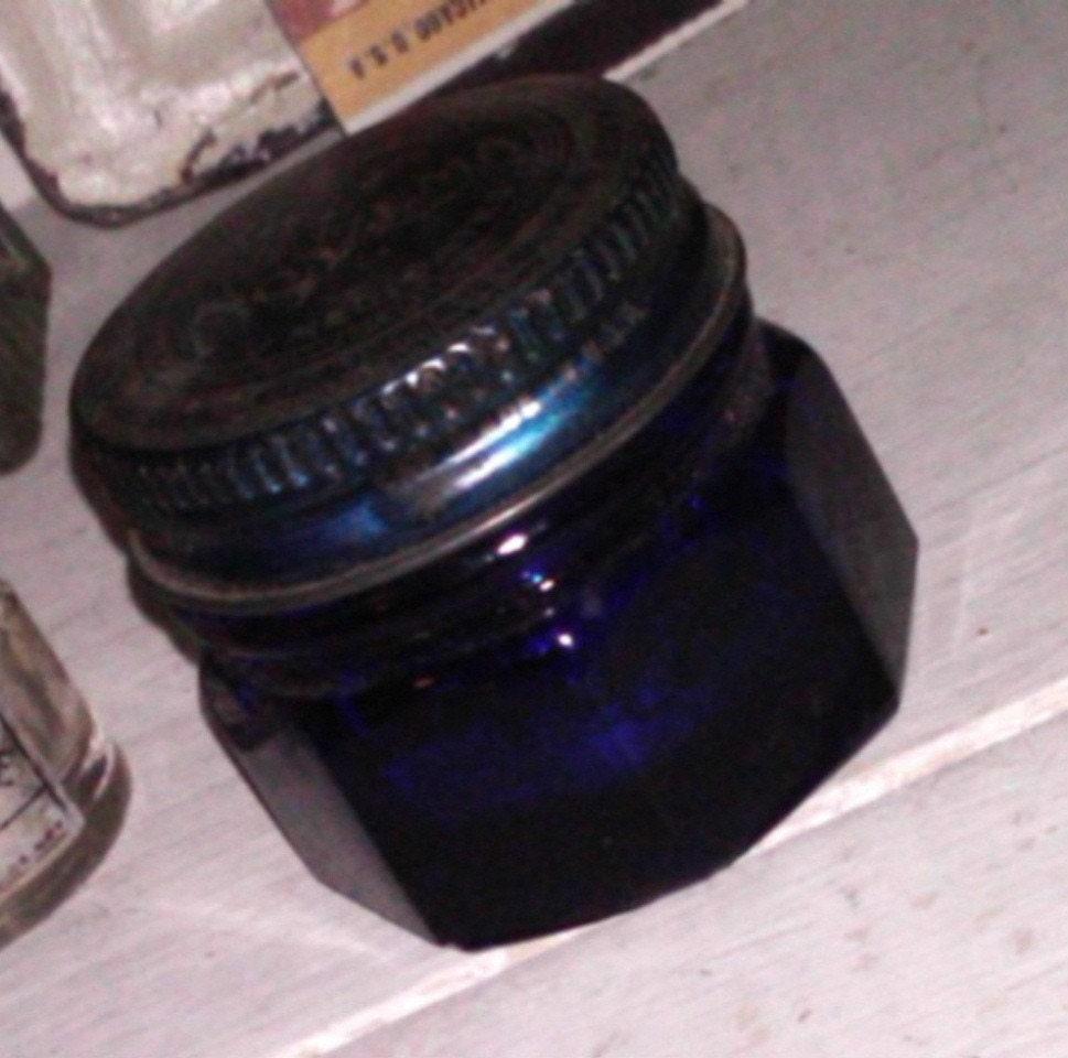 How To Use Noxzema >> Antique Cobalt Blue Noxzema Glass Jar with Original by fuzzyra