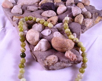 Olive New Jade 6mm Beads