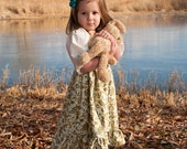 FREE SHIPPING Girls Dress Green Yellow Gold Floral Peasant Smock to Top Holly Hobbie - SiZE 6m to 5T