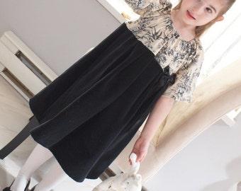 Holly Hobby Black Velvet Cream Toile Satin Bow Girls Dress