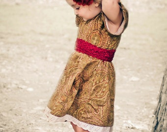 Girls Dress or Peasant Smock Top in Red Gold Paisley  sizes 9m to 18m