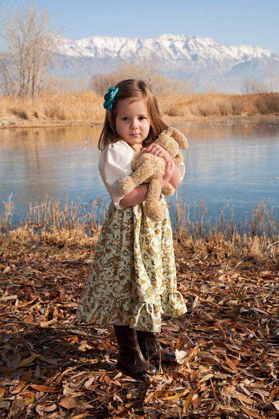 Girls Dress Green Yellow Gold Floral Peasant Smock to Top Holly Hobbie - SiZE 3m to 5T
