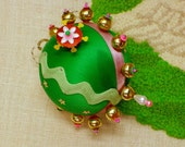 Skyler Stars - Kelly Green Sequined and Beaded  Satin Ornament