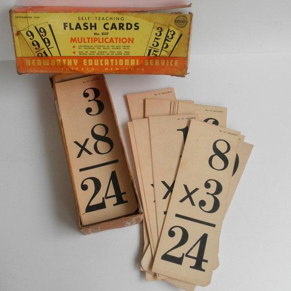 Vintage Multiplication Flash Cards, 1948, full set