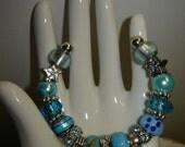 Pandora knock-off - Metal and Glass Bracelet (B8E)