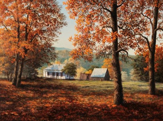 Oklahoma Homestead, LIMITED EDITION GICLEE, Landscape, Fall, Autumn