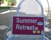 CLEARANCE - Vintage metal sign, summer, retreat, metal, sign, pink, white, cottage chic, vacation