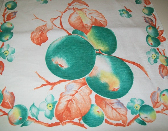Vintage tangerine, teal, green, and white linen kitchen towel, towel, linen, dish towel, kitchen, fruit, 1960s or earlier, 1960s