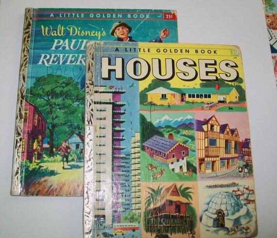 SALE - 2 Vintage Little Golden Books, Houses, Paul Revere, 1950s, 1955, 1957, Walt Disney, Simon and Schuster