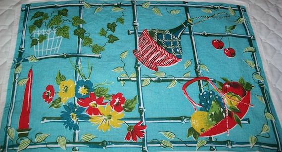 SALE - Vintage linen towel, sky blue, red, yellow, fruit, linen, kitchen, towel, linen towel, 1960s, 1950s