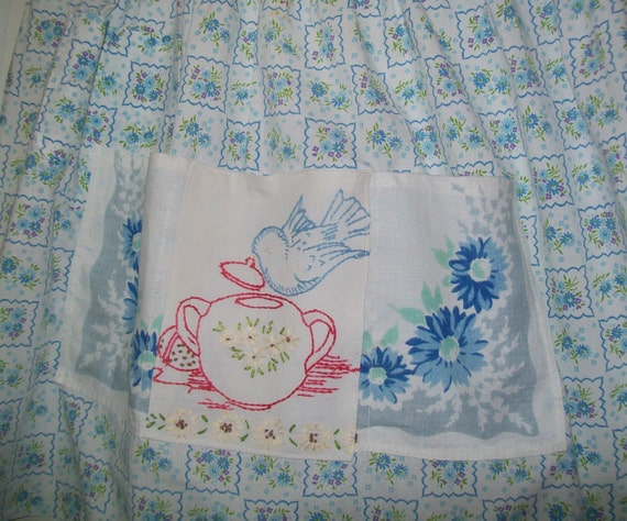 Vintage apron, embroidered, blue, white, floral, teapot, bluebird, bird, 1960s, 1950s