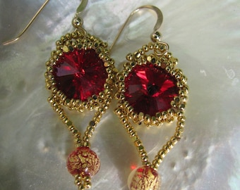 Siam Swarovski Earrings with Gold Beads