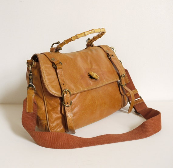 Vintage leather Messenger bag. Light tan, roomy satchel.
