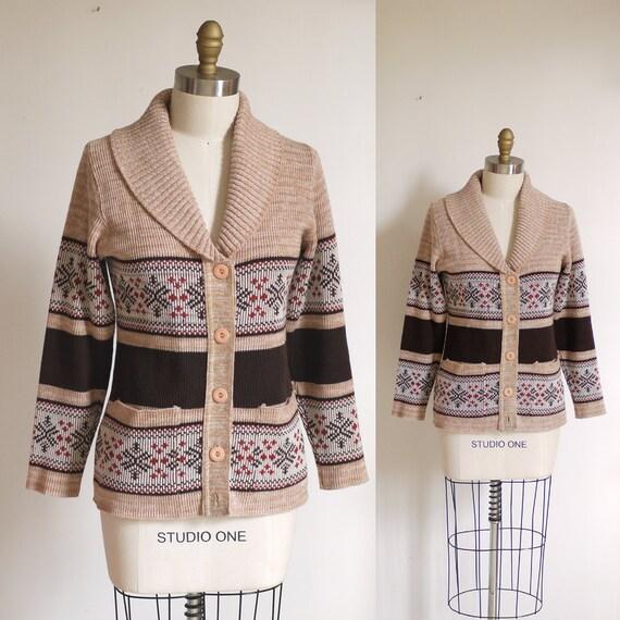 Vintage Fair Isle Folk shawl collar cardigan Sweater Small