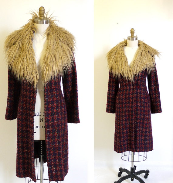 RESERVED...Claude Montana // Shaggy Faux Fur Collar Bohemian coat. Gypsy coat in wool tweed.