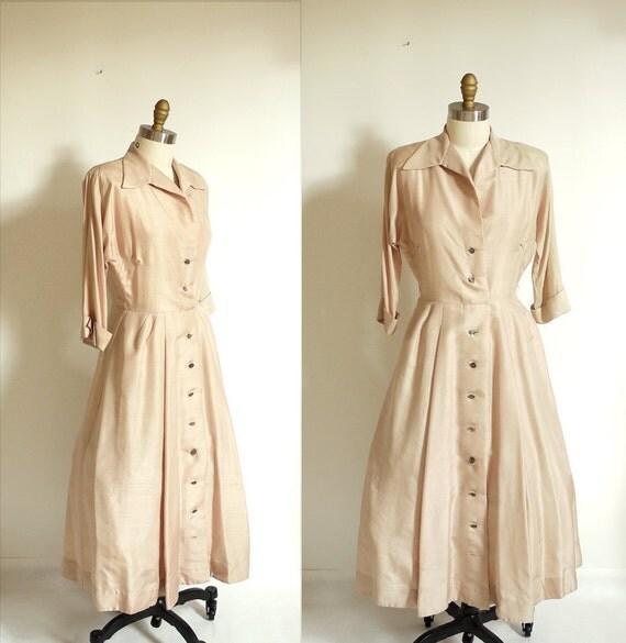 1940s Pink Champagne Silk Dupioni Dress