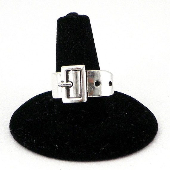 Sterling Belt Buckle Ring, handmade, Size 6 1/2...The Bondage look or just belted in