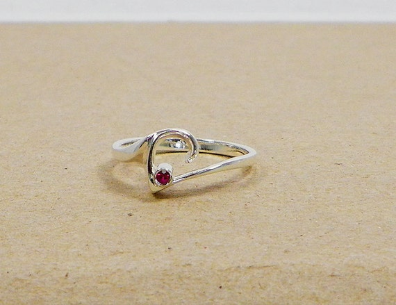 Sterling Silver Pink Tourmaline Heart Ring