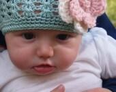 INFANT- Sea Foam Crochet Hat with Pink and Cream Crochet Flower (Newborn-9mo)