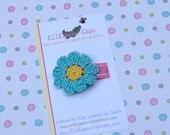 Tenley -Turquoise and Yellow Crochet  Flower Hair Clip - 0061