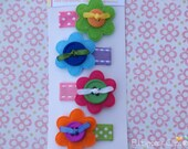 Felt Flower and Button Hair clip Set - Addison (4 piece) - Baby/Toddler Hair clips / Flower Hair Clips