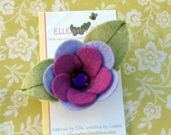 Laurel - Purple Felt Flower Hair Clip - Girls Hair clip / Felt Hair Clips