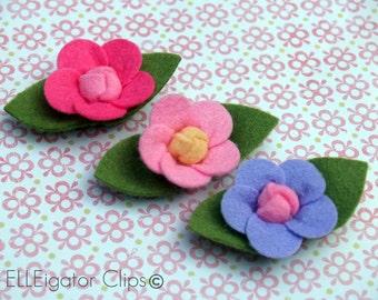 So Pretty -  Felt Flower Hair Clip Set (3 piece) - customer favorite / Dark Pink, Pink and Lavender Felt Flowers with Leaves
