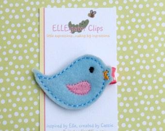 Blue Birdie- Light Blue and Pink Felt Bird Hair Clip - Girls Hair Clips / Felt  Hair Clips / Embroidered