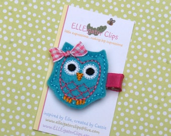 Felt Owl Hair Clip - Turquoise and Pink /Girls Hair Clips / Felt Owl / Woodland Hair clips / Embroidered Hair clips