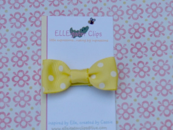 Yellow and White Polka Dot Bow Hair Clip- Mindi - 0065 / Girls Bows / Hair Clips (see store for COUPON code)