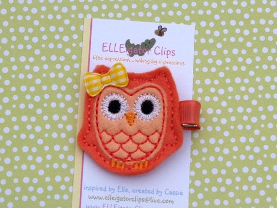 LAST ONE - Sunny the Owl- Mango and Peach Felt Hair Clip - Girls Hair Clips / Felt Owl / Woodland / Embroidered