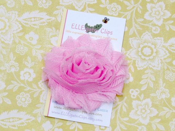 Heidi - Pink Chiffon Flower Hair Clip - Shabby Rose - Girls Hair Clips