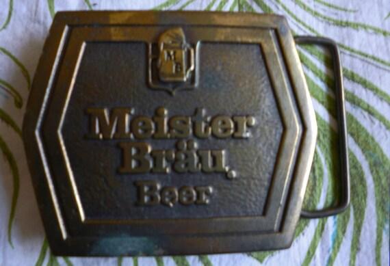 Meister Brau Vintage 70's Brass Beer Label Logo Belt Buckle Trucker Hipster