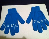 knuckle tattoo Live Fast Gloves OOAK Winter clearence