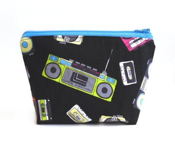 Boombox and Cassette Tape - Makeup Bag