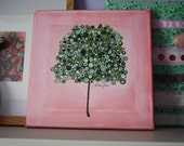 8x8 Personalized Child's Name Painting on Stretched Canvas Whimsical Tree
