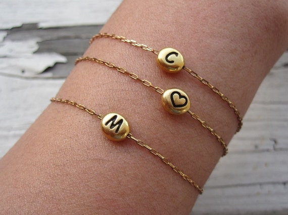 Initial Bracelet, Gold Initial Bracelet, Bridesmaid Bracelet, Personalized Jewelry, Bridesmaid Gifts, Personalized, Monogram, Summer, Sale