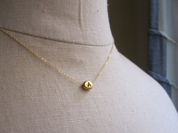 Gold Initial Necklace, Personalized Jewelry, Initial Necklace, Bridesmaid Necklace, Mother Daughter Necklace, Monogram, Graduation Gift