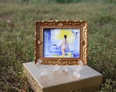 Original Miniature Painting-Nude Surealism Dollhouse Scale Artwork- Tiny Woman Painting for Doll House Decor