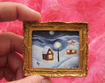 Sale 30% off Tiny Miniature Oil Original Painting Christmas for Dollhouse or Collection by VaKaDi Art