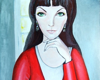 Original Acrylic Painting on Canvas - Woman in Red Portrait- Christmas Gift