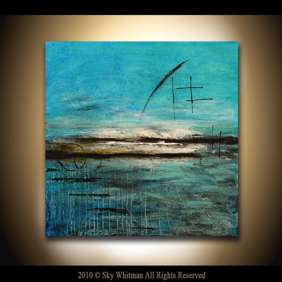 Original Abstract Art LARGE Blue Modern Contemporary Oil Painting By Sky Whitman