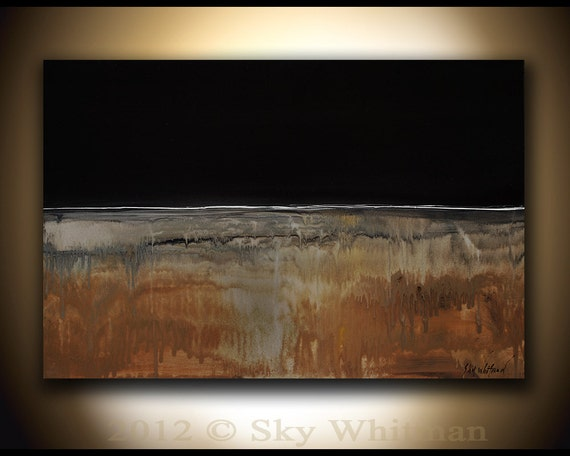 RESERVED FOR ALEXIS Large Original Modern Minimalist Black and Burnt Amber Painting Abstract Contemporary Raw Art 24x36 by Sky Whitman