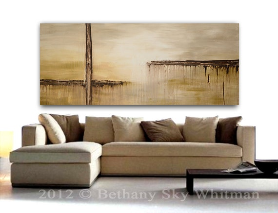 Massive Original Modern Abstract Art 6foot Organic Cream Clay Contemporary Painting 36 X 72 Free Shipping