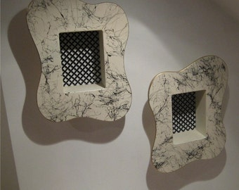 vintage looking 50's style white amoeba pair of atomic shadow boxes