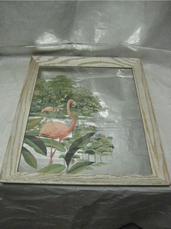 Vintage Flamingo Print Mirror Tiki Tropical Bird