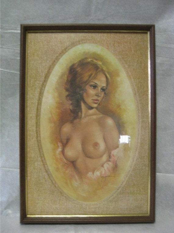 leo jansen vintage pin-up nude print in original frame